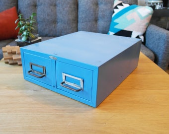 Vintage Blue Cole Steel Double Drawer Card Cabinet