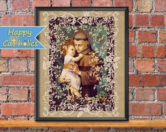 Catholic Art // Saint Anthony Art Print  // Catholic Art Print // St. Anthony // Jesus Christ Child