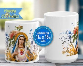 Catholic Art // Virgin Mary Mug // Immaculate Heart of Mary Coffee Mug