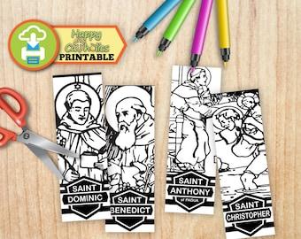Catholic Art // Saints Bookmarks Set 1 - Cut and Color - Instant Download