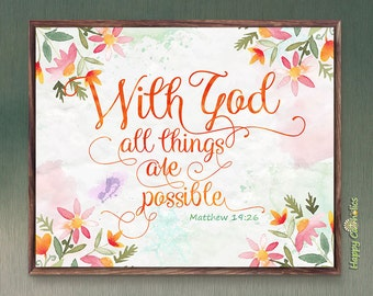Catholic Art // With God All Things Are Possible Print