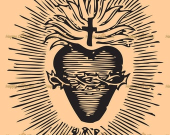 Catholic Art // Clip Art // Sacred Heart of Jesus Vector  - Digital Vintage - Royalty-Free for Personal or Commercial Use