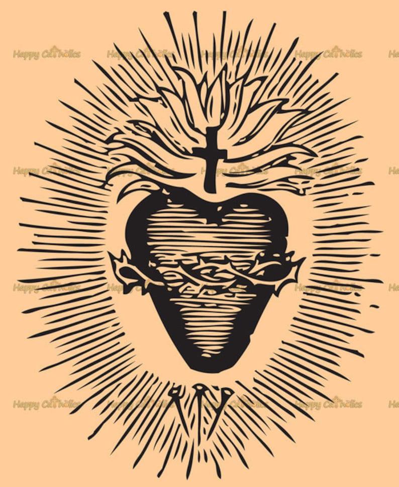 Catholic Art // Clip Art // Sacred Heart of Jesus Vector   image 1