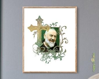 Catholic Wall Art   St. Padre Pio   Catholic Saints   Rustic Cross