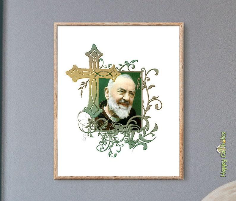 Catholic Wall Art  St. Padre Pio  Catholic Saints  Rustic image 0
