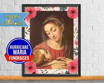 Hurricane Maria Fundraiser for Puerto Rico // Divine Providence Floral Art Print  // Vintage Catholic Art