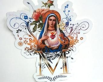 Catholic Stickers // Catholic Art // Virgin Mary Stickers // Immaculate Heart of Mary // Die Cut Vinyl Sticker // Vintage Catholic Art