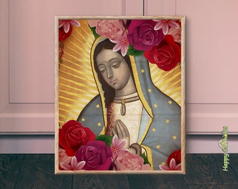 Catholic Art // Our Lady of Guadalupe // Virgin Mary // Virgin of Guadalupe Art // Print // Vintage // Virgen de Guadalupe // Mexico