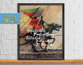 Catholic Art // Joan of Arc Art Print  // Fear Nothing // Vintage Catholic Art // Saints //