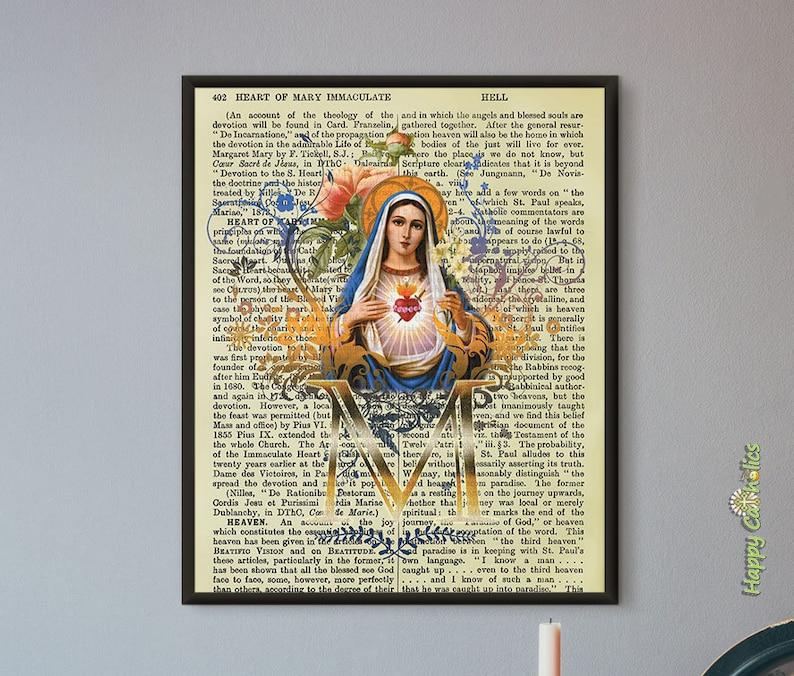 Catholic Art // Dictionary Print // Virgin Mary // Immaculate image 0