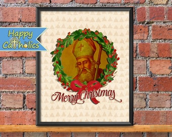 Catholic Art // Christmas Print // Christmas decorations // St Nicholas // Saint Nicholas print // Christmas decor // St Nicholas art