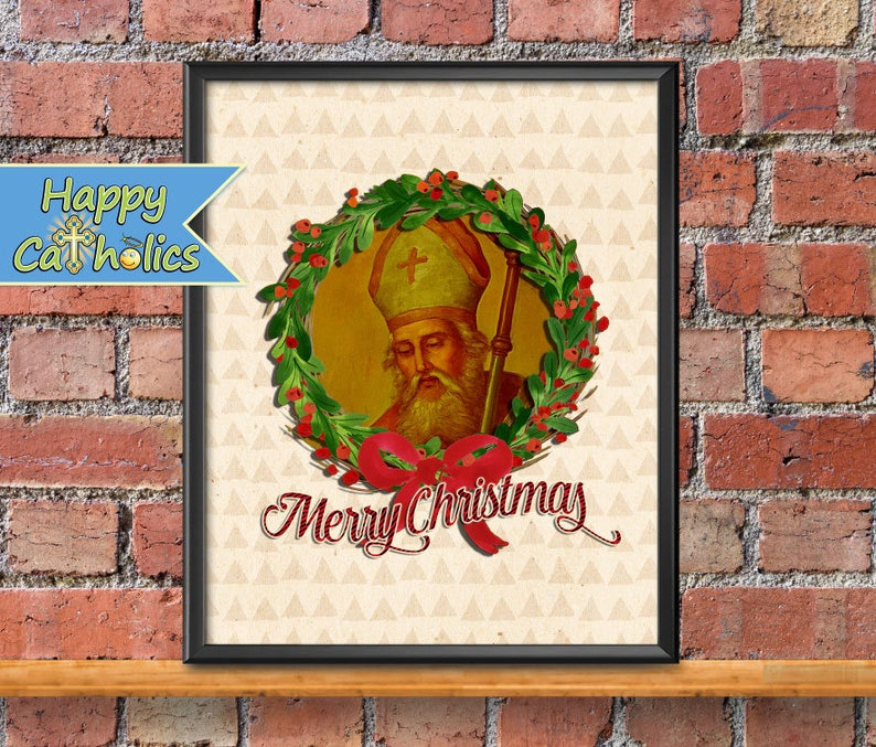 Catholic Art // Christmas Print // Christmas decorations // St image 1