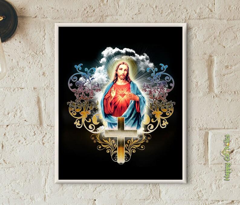 Catholic Art // Sacred Heart of Jesus  8x10 Print image 0