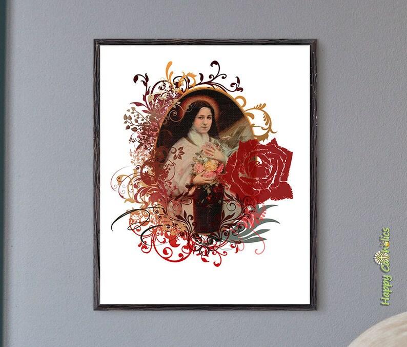 Catholic Art // St. Therese Print // Saint Therese of Lisieux image 0