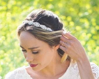 Pearl and Rhinestone Headband, Silver Wedding Headband, Pearl Crystal Bridal Headband, Wedding Headpiece, Wreaths, Rose Gold pearl Headband