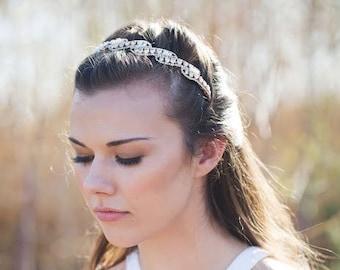 Gold Headband,Gold Wedding Headband,Gold Pearl Bridal Headband,Rhinestone Crystal Wedding Headband,Gold Headpiece,Swarovski Crystal Headband