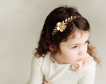 Gold Flower Girl Headband, Gold Flower and Leaf Flower Girl Headband, Girl headband, Flower Girl Headpiece, Crystal Headband,Evy Headband