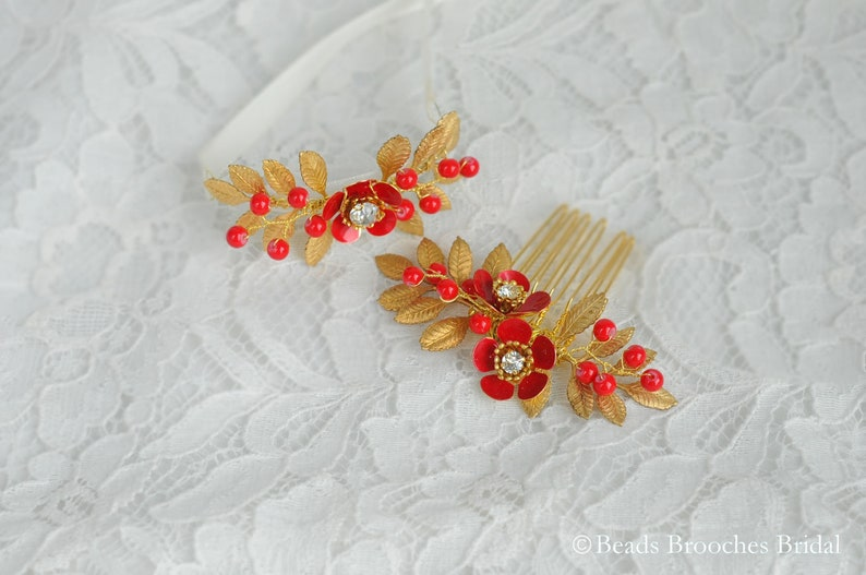 Red and Gold Wedding Headpiece for Chinese Wedding Gold Leaf Hair Comb,Red Flower Comb,Gold Leaf Bracelet,Red Flower Bracelet