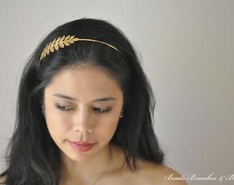 Gold Leaf Headband,Grecian Headband,Holiday Hair Accessory,Gold Brass Headband,Gold Leaf,Greek, Roman,Leaf Headpiece,Greek Head Piece,Greek