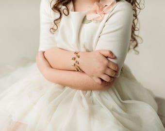 Crystal Flower Girl Bracelet, Flower Girl Jewelry, Clear Swarovski Crystal Flower Girl Bracelet, Gold Girl Bracelet, Hand Made Girl Bracelet