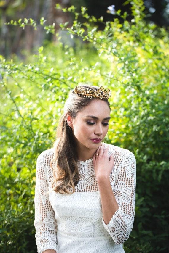 Vintage German Style Wedding Tiara Gold Myrtle Leaf wedding  2d3ee86150f