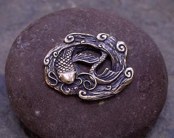 Button Bronze Koi Fish One Inch