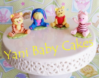 Cold Porcelain Winnie The Pooh Cake Topper Baby Shower Birthday Handmade Decoration