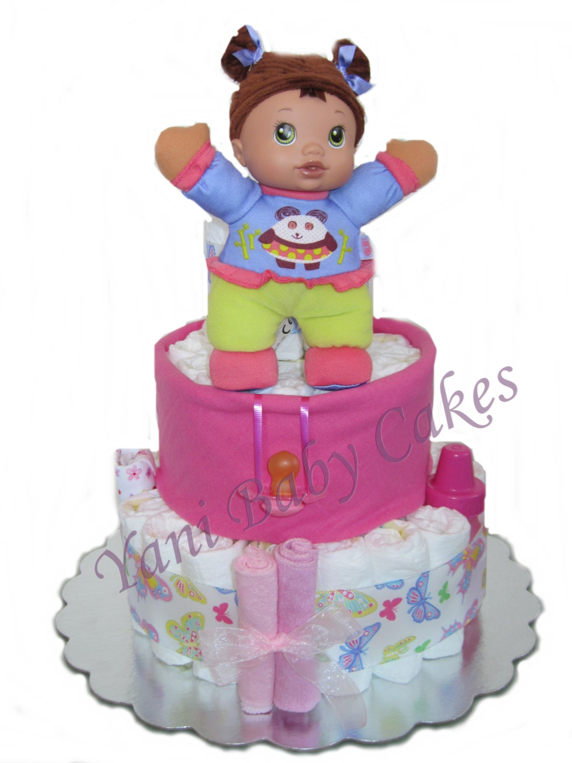 Sale Baby Girl Diaper Cake Baby Shower Centerpiece Baby Etsy