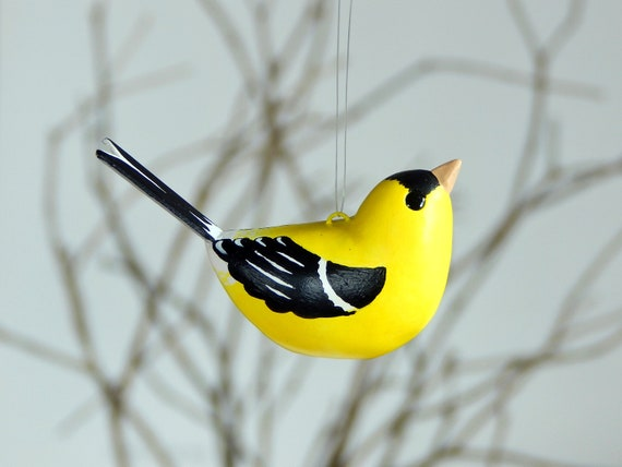 Garden Bird in Needlepoint Gold Finch Ornament Decor