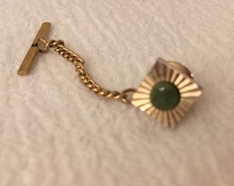d502a03244e9 Vintage Jade Gold-tone Tie Tack MCM