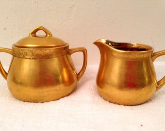 Vintage Gold Luster Porcelain CREAM and SUGAR Art Deco