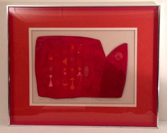 """30x24"""" Framed Matted Ross Wetzel Mixed Media Sculptural Painting LTD ED 78/150 """"In Search of Cords"""" Vintage"""