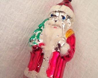 "Large Vintage 5"" SANTA W Tree/Bag Of Toys Glass Christmas Ornament Mold Brown"