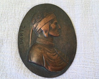 Vintage Dante Copper / Bronze Indian Warrior Wall Plaque