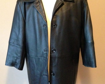 6b22f7f3a87 Vintage Womens RETRO Long Burgundy Brown LEATHER COAT size L New England  Sportswear