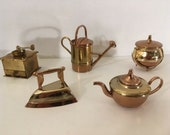 Lot Vintage Brass Miniature Coffee Grinder Teapot Iron Cauldron Sprinkling Can