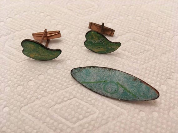 Vintage Enameled Copper Cuff Link Set  18-114