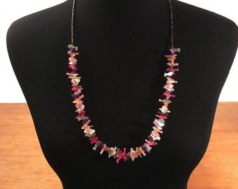 """Vintage Native American 29"""" Tribal Fetish Necklace Shell Bead Purple Pink White Yellow"""