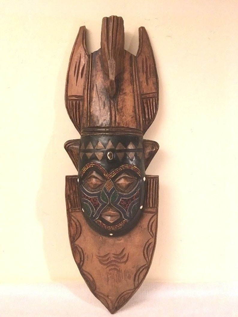 Vintage Fellaini MASK Changing of the Kings Ivory Coast Africa Inlay Beads Brass