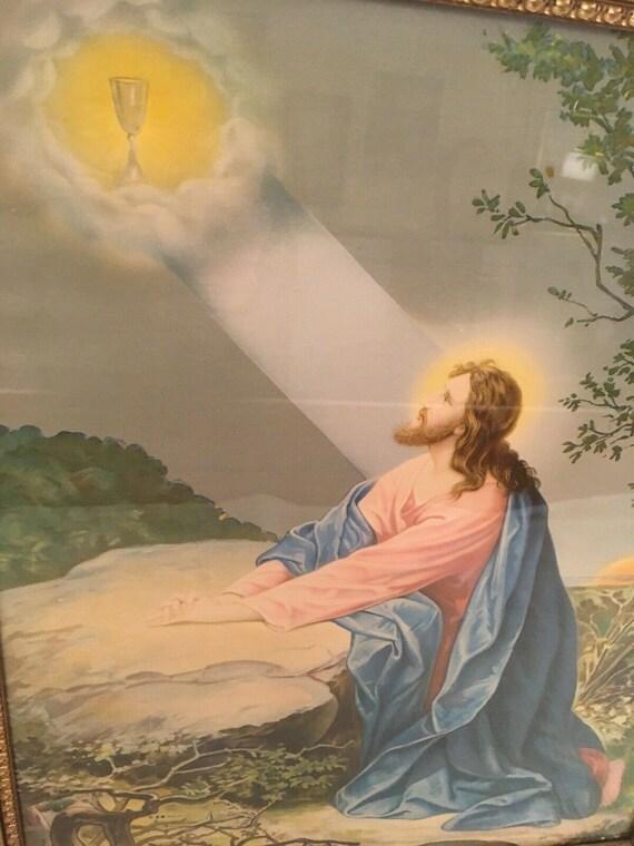 Agony in the Garden~Angel Jesus Gethsemane Religious~DIY Cross Stitch Pattern