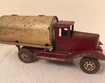 Vintage Wyandotte Pressed Steel TOYLAND DAIRY Tanker Truck Wood Wheels