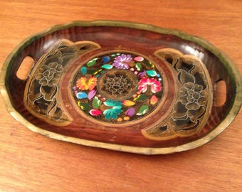 Vintage Tole Painted TRAY Hand Painted Cout-out Handles Exotic Wood Folk Art