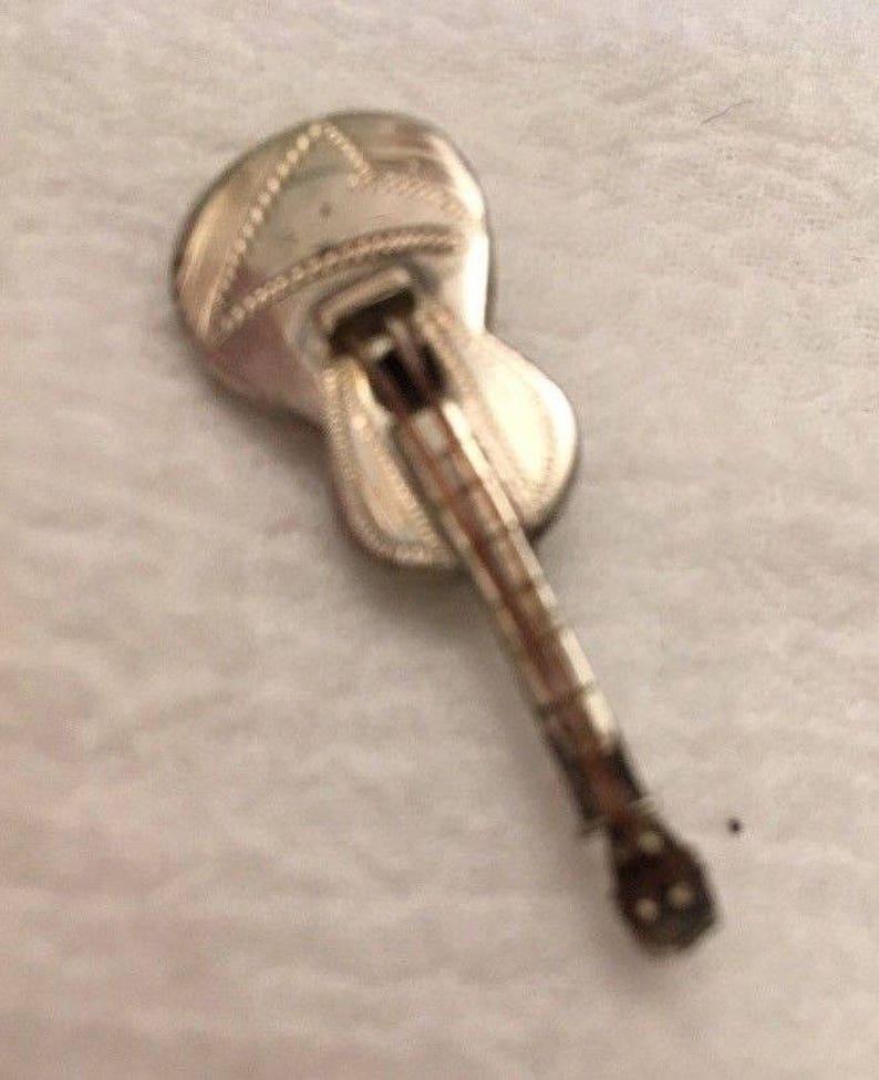 Vintage Sterling Silver GUITAR Brooch