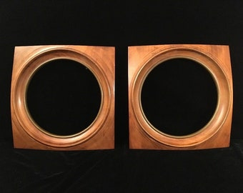 Pair Vintage Wood PLATE FRAMES Square w Round Opening Mid Century