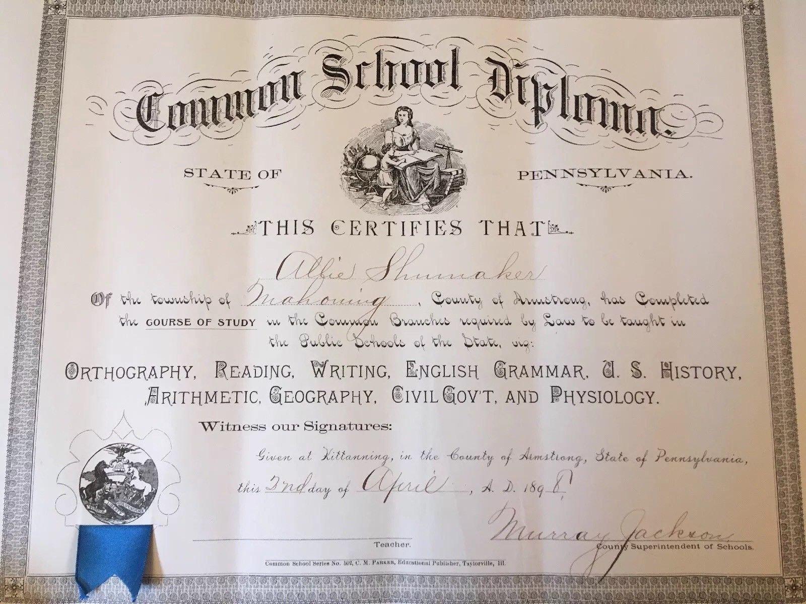 Large 1898 Antique Common School Diploma Teachers Certificate Etsy