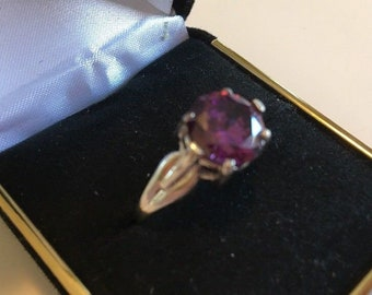 Vintage Sterling Silver Womens Ring w/ Purple Amethyst Size 10.5