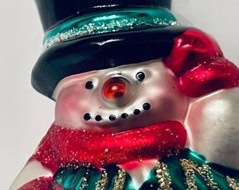 Old World Snowman Christmas Ornament Blown Glass Vintage