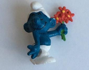 Vintage Smurf, Flowers, Bashful