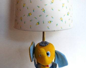 Vintage Plush Elephant Lamp, Retro, Nursery, Play Room