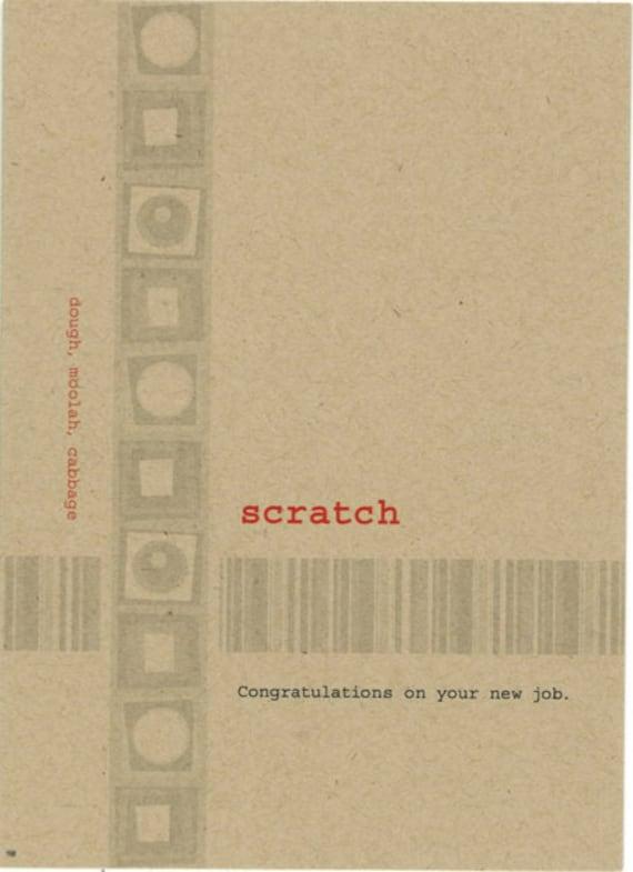 Scratch Card New Job Congratulations Card Lexicon Line No Etsy